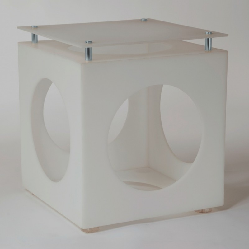 Matt White Circle Cut Out Table